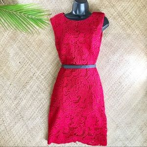 MNG suit red thick lace dress with black belt
